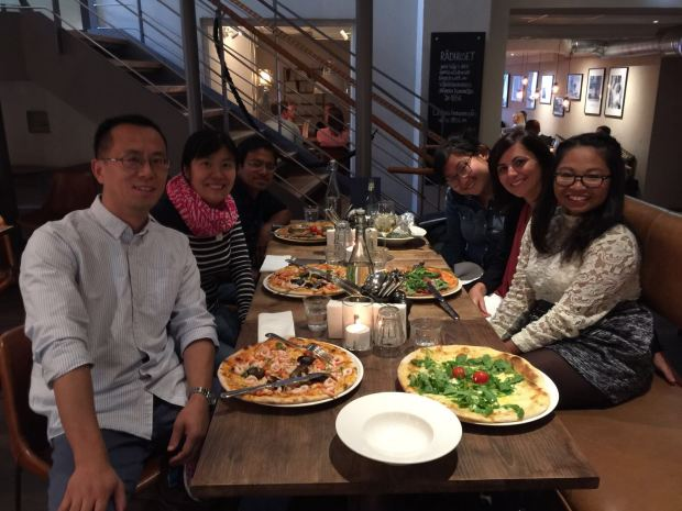 dinner in 1853 eating italian food like pizza in linköping with my research lab colleagues
